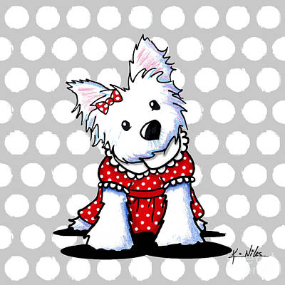 Westie Dog Drawing - Cutiepie Westie Girl by Kim Niles