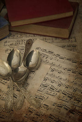 Old Sheet Music Photograph - Cutlery In Vintage Table Setting With Antique Paraphenalia With  by Matthew Gibson