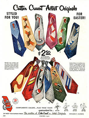 50s Drawing - Cutter Cravat 1950s Usa Mens Ties by The Advertising Archives