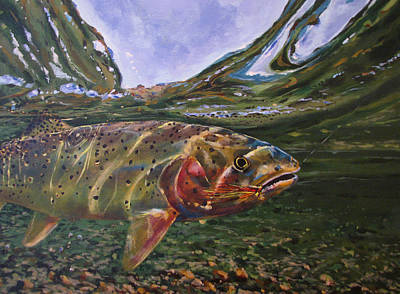 Painting - Cutthroat Hooked In The Ripple by Les Herman