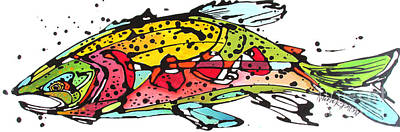 Animals Paintings - Cutthroat Trout by Nicole Gaitan