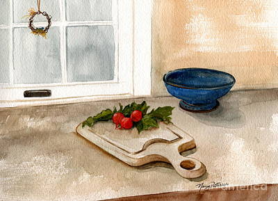 Painting - Cutting Board And Radishes  by Nancy Patterson
