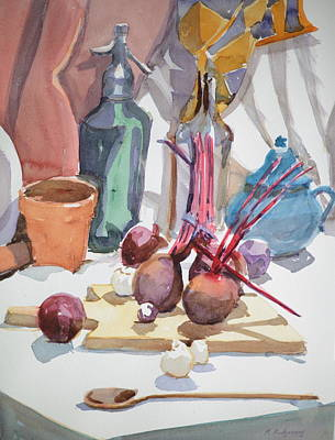 Teapot Painting - Cutting Board With Beets by Margaret Montgomery