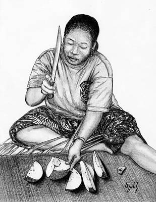 Down On The Ground Drawing - Cutting Breadfruit by Lew Davis