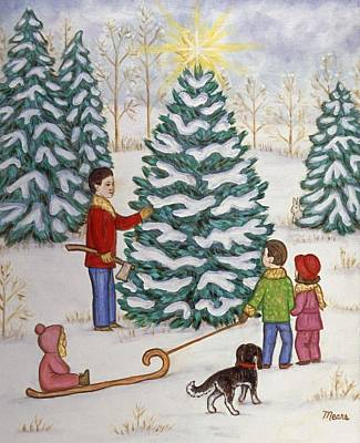 Friends Painting - Cutting Our Tree by Linda Mears