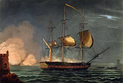 South American Drawing - Cutting Out Of The Hermione by Thomas Whitcombe