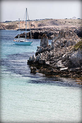In Cala Pudent Menorca The Cutting Rocks In Contrast With Turquoise Sea Show Us An Awsome Place Art Print by Pedro Cardona
