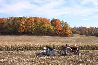 Photograph - Cutting The Corn by R B Harper