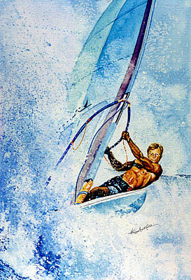 Wind Surfing Painting - Cutting The Surf by Hanne Lore Koehler
