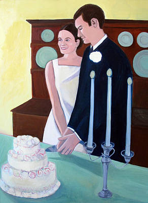 Cutting The Wedding Cake Art Print by Toni Silber-Delerive