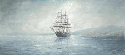 Cutty Sark Anchored Off The Coast Art Print