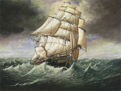 Cutty Sark Caught In A Squall Art Print by Eric Bellis