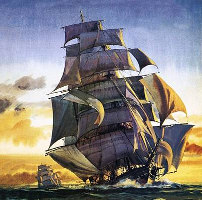 Ocean Sunset Painting - Cutty Sark by English School
