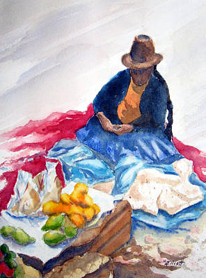 Peru Painting - Cuzco Market by Marsha Elliott