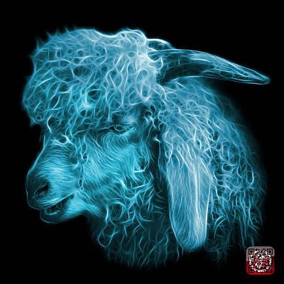 Digital Art - Cyan Angora Goat - 0073 F by James Ahn