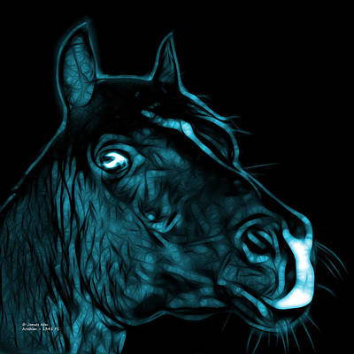 Animal Lover Digital Art - Cyan Arabian Horse - 1341 Fs  by James Ahn