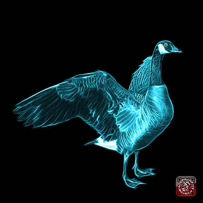 Mixed Media - Cyan Canada Goose Pop Art - 7585 - Bb  by James Ahn