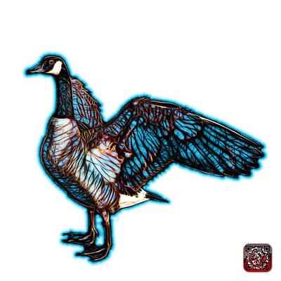 Photograph - Cyan Canada Goose Pop Art - 7585 - Wb by James Ahn