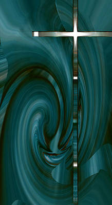 Digital Art - Cyan Cross Ip by Roy Erickson