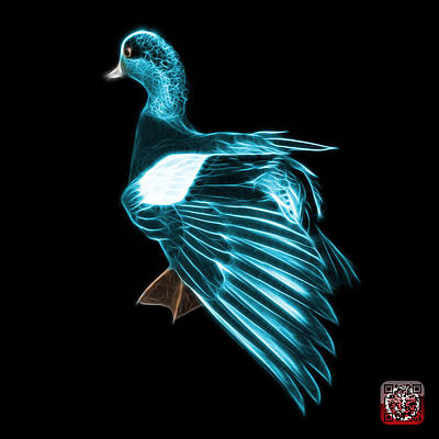Mixed Media - Cyan Fractal Wigeon 7702 - Bb by James Ahn