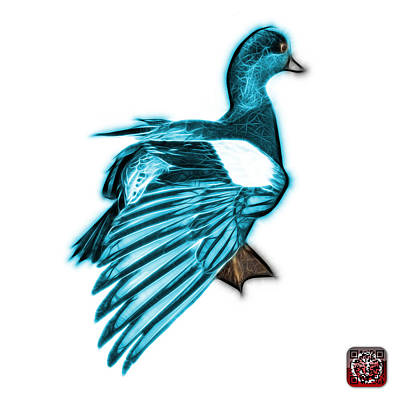 Mixed Media - Cyan Fractal Wigeon 7702 - Wb by James Ahn