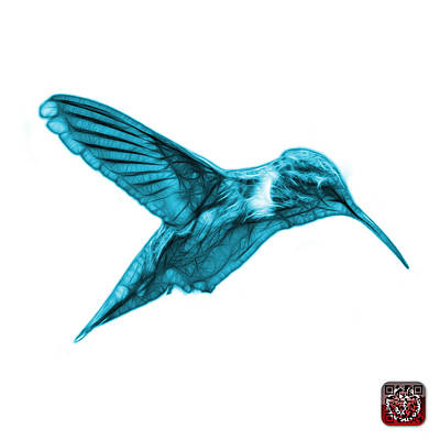 Digital Art - Cyan Hummingbird - 2054 F S by James Ahn