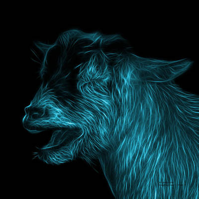 Animal Lover Digital Art - Cyan Laughing Goat - 0312 F by James Ahn