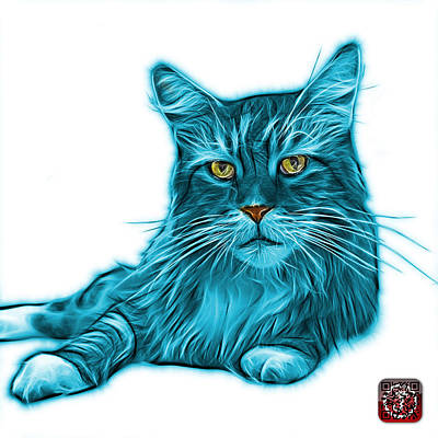 Painting - Cyan Maine Coon Cat - 3926 - Wb by James Ahn