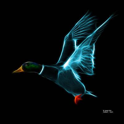 Mixed Media - Cyan Mallard Pop Art - 7664 - Bb by James Ahn