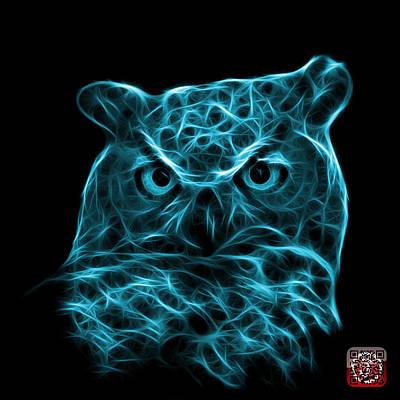 Digital Art - Cyan Owl 4436 - F M by James Ahn