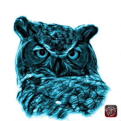 Digital Art - Cyan Owl 4436 - F S M by James Ahn