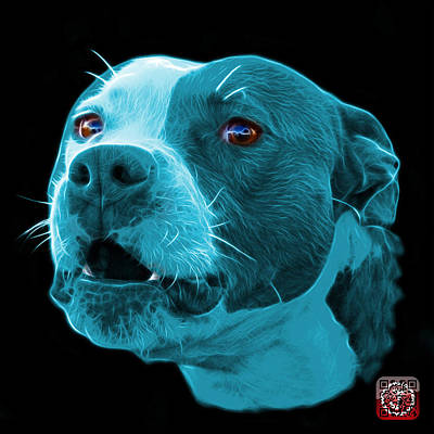 Mixed Media - Cyan Pitbull Dog 7769 - Bb - Fractal Dog Art by James Ahn