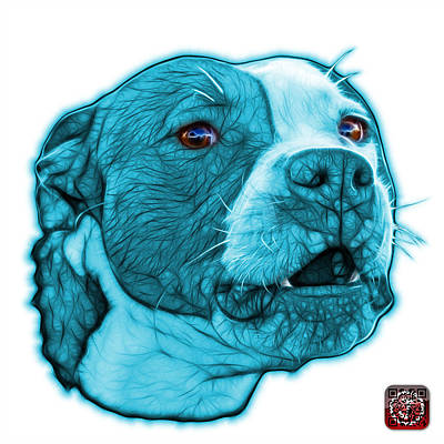 Mixed Media - Cyan Pitbull Dog Art - 7769 - Wb - Fractal Dog Art by James Ahn