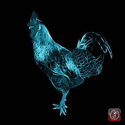Digital Art - Cyan Rooster 3186 F by James Ahn
