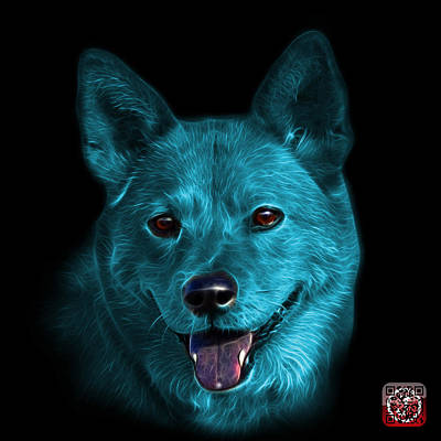 Mixed Media - Cyan Shiba Inu Dog Art - 8555 - Bb by James Ahn