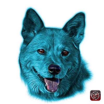 Mixed Media - Cyan Shiba Inu Dog Art - 8555 - Wb by James Ahn