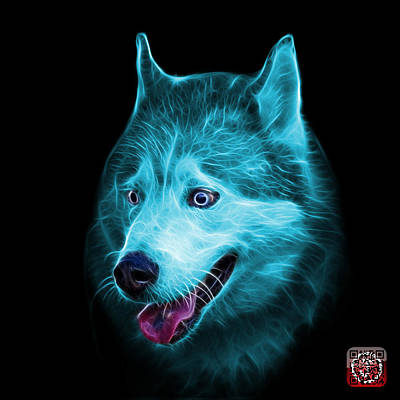 Painting - Cyan Siberian Husky Dog Art - 6062 - Bb by James Ahn