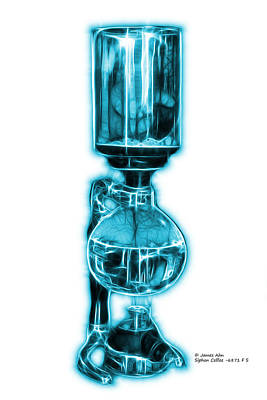 Digital Art - Cyan Siphon Coffee 6781 F S by James Ahn