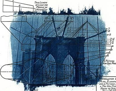 Cyanotype Brooklyn Bridge IIi Art Print by Jane Linders