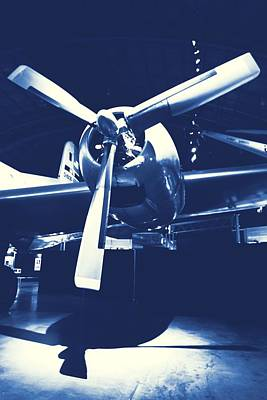 Plane Engine Photograph - Cyanotype Vintage Airplane by Dan Sproul