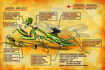 Digital Art - Cybergen Robotics Assault Mantis Insectoid by John Wills