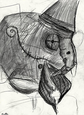 Undead Drawing - cyborg undead Bird Brain Parrot machine by Don Lee