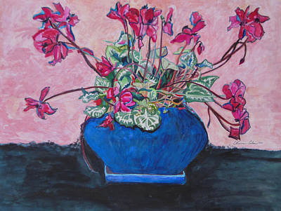 Cyclamen Painting - Cyclamen In A Blue Flower Pot by Esther Newman-Cohen