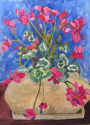 Cyclamen Painting - Cyclamen In Blue by Esther Newman-Cohen