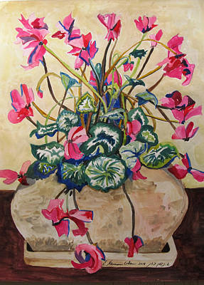 Cyclamen Painting - Cyclamen In Yellow by Esther Newman-Cohen