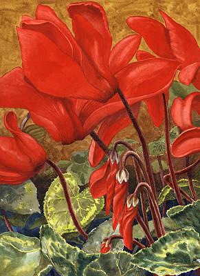 Cyclamen Painting - Cyclamen by Karen Wright