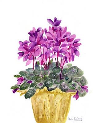 Plant In Pot Painting - Cyclamen by Neela Pushparaj