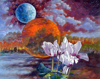 Painting - Cyclamen Over New World by John Lautermilch