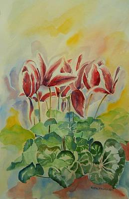 Painting - Cyclamen Still Life In Watercolor by Geeta Biswas