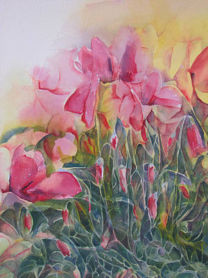 Painting - Cyclamen Up Close by Lynne Bolwell